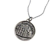 moneda de los hombres al por mayor-Vintage Notre Dame de París collares pendientes de la moneda de plata de ley 925 Tag collares pendientes de declaración mujeres de los hombres de joyería de DHL