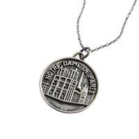 Wholesale coin jewelry for sale - Vintage Notre Dame De Paris Pendant Necklaces Sterling Silver Coin Tag Pendant Necklaces for Men Women Jewelry DHL