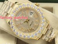 relógio apedrejado venda por atacado-Chegam novas chegadas assistir varredura suave movimento mecânico automático 43 MM diamantes rosto grande pedras bezel luxo mens relógios