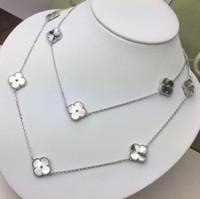 collares tallados al por mayor-Collar de joyería de compromiso Mujer 90 cm Trébol Tallado Flor diez Flor Collar largo Diseñador Vintage Alhambra Collar de joyería