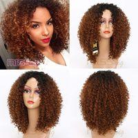 ingrosso parrucca ricci bionda rossa-Parrucca MISS WIG lungo rosso nero Afro Parrucche crespi ricci per donne nere Biondo misto marrone 250g Parrucche sintetiche
