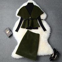 modische frauen kleidung groihandel-Europäische und amerikanische Frauen Kleidung 2019 Winter neuen Stil langärmlige Strickjacke Cape Mantel Röcke Modische Wollanzug