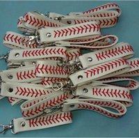 armbandkugeln großhandel-Baseball Armband Schlüsselbund Leder Softball Armbänder Schlüsselanhänger Herren Damen Sport Armband Ball Zubehör Schmuck GGA2466