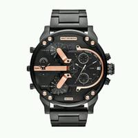ingrosso due orologi da orologio-Orologi da uomo di lusso di alta qualità di marca quadrante grande orologi militari due fuso orario al quarzo Sport orologi da polso orologio regali Relogio Masculino