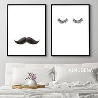 Wholesale abstract couple paint for sale - Group buy Mustache Lashes Posters and Prints Couple Canvas Painting On The Wall Decoration For House Living Bedroom Creative Art Pictures