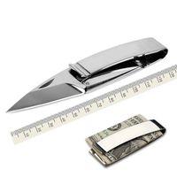 tarjeta de cuchillo plegable al por mayor-Money Clip Folding Knife Multifuncional Cash Clip Al aire libre Rescate Supervivencia Herramienta EDC Mayorista titular de la tarjeta envío gratis