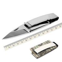 kart bıçağı katlama toptan satış-Para Klip Katlanır Bıçak Çok Fonksiyonlu Nakit Klip Açık Kamp Kurtarma Survival EDC Aracı Toptan kart tutucu ücretsiz kargo