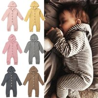 Wholesale knitting baby boy clothes for sale - Group buy Baby girls boys striped rompers infant Hooded Jumpsuits autumn Boutique children knitted warm outfits kids Climbing clothes M675