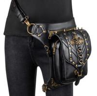 bolso cruzado cuerpo calavera al por mayor-Cuero de la PU SkullRivet Steampunk Cinturón Retor Motocicleta de las mujeres Rock Cross Body Bag Accesorios Góticos Corsé