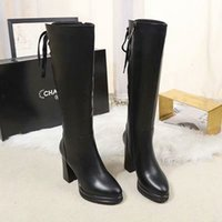 Wholesale thigh high for sale - Group buy 2019 Women Shoes New Knee Thigh High Women Motorcycle Flats Long Boots Low Heel Knee High Boots Leather Boots Bandage tide