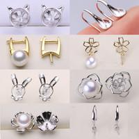 Pearl Stud Earrings 100% S925 Sterling Silver Earrings Setting DIY Pearl Earring for Women Girl Wedding Jewelry Gift Wholesale Jewelry