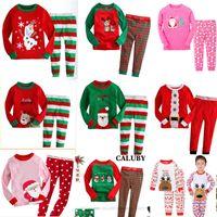 новые стили tshirt оптовых-Розничная продажа 34 стилей New Boys girls Рождественские наборы одежды с длинным рукавом Пижамы 2шт. Наборы одежды (футболка + брюки) Xmas Kids Outfit Boutique Одежда