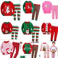 erkek tarzı kıyafet toptan satış-Perakende 34 Stilleri Yeni Erkek kız Noel Giyim Setleri Uzun Kollu Pijama 2 adet kıyafet setleri (tshirt + pant) Noel Çocu ...