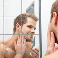 ingrosso adesivi adesivi a specchio-Adesivo decorativo specchio Adesivo quadrato specchio di riflessione Bagno Salotto Adesivi murali Decorazione della parete di casa 9 pezzi / set