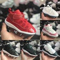 zapatillas pequeñas al por mayor-Zapatos niño del nuevo bebé OG 11s zapatos de baloncesto de los niños del diseñador Cactus Jack 11 de los zapatos corrientes Niño Niña Trainer Negro Blanco tamaño pequeño