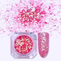 Wholesale art hexagon glitter online - 1 Box Pink Color Nail Glitter Sequins Multi size Hexagon Flakes Nail Paillette Manicure Art Pigment Decoration DIY Design
