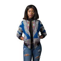 chaquetas largas étnicas al por mayor-Ropa Dashiki étnica de manga larga Retro Chaquetas Tops Mujeres Sexy Stand Collar Casual Streetwear Sudadera con estampado africano