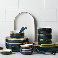 geschirr geschirr großhandel-Teller Platten Phnom Penh Keramik Geschirr Platte Hochwertige Geschirr Schüssel Pinzette Platte Set Großhandel