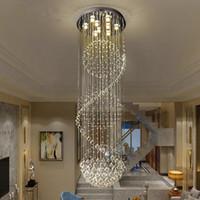 gotas de cristal k9 al por mayor-Moderna araña de cristal Esfera LED moderna Esfera en espiral Gota de lluvia K9 Lámpara de techo para escaleras Escalera Lámpara Salón Salón del hotel
