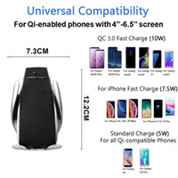 galaxy s5 araba sahibi toptan satış-S5 Otomatik Sıkma Araba QI Kablosuz Şarj Için IPhone XS MAX Galaxy Hava Firar Tutucu 360 Derece Rotasyon Şarj Montaj Braketi Şarj