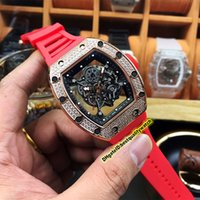 Wholesale best automatic sports watch resale online - 19 Style Luxury Best Edition RM Diamonds Case Skeleton Dial Japan Miyota Mechanical RM055 Men Watch Red Rubber Strap Sport Watches