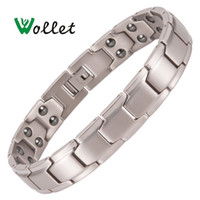 Wholesale health energy care bracelet resale online - Jewelry Germanium Hematite Pure Titanium Magnetic Bracelet for Men Women Fashion Health Care Healing Energy