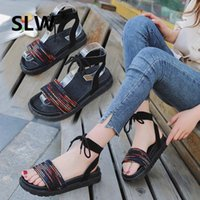 Wholesale flat shoes korean styles online - casual shoes flat sandals Flat summer Casual Cross tied korean style Cotton Fabric soulier femme Solid zomer schoenen dames