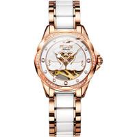cisnes de cerâmica venda por atacado-Top relógios mecânicos automáticos das mulheres JSDUN luxo relógio de cerâmica mosaico diamante cisne oco discagem amantes presente relógio de pulso à prova d 'água