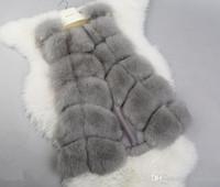uzun dış giyim yelek toptan satış-Kadın Kış Sahte Kürk jile Yelek Ceket Kaban Yelek Dış Giyim Gilet Kadınlar Gilets Dış Giyim Uzun İnce Yelek taklit kürk sıcak