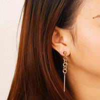 indian cloisonne venda por atacado-Europeu Chegada Nova Simples de Metal Longo Cadeia Brincos Para Mulheres Cor de Ouro boucle d'oreille femme 2018 Indiano Jóias