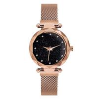 relojes de pulsera de superficie al por mayor-Mujeres de lujo Relojes de malla Señoras Reloj Imán Hebilla Estrellada Diamante Superficie Geométrica Vestido Casual Reloj de pulsera de cuarzo