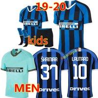 kits de futebol para homens venda por atacado-Tailândia ICARDI LAUTARO Martinez SKRINIAR 2019 Inter camisa de futebol Inter Milan Mens crianças PERISIC NAINGGOLAN POLITANO jérsei campeão da liga 18 19 kit de futebol