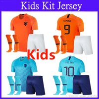 ingrosso kit olandese-:) 2018 2019 Kit per bambini New Nederland Soccer Jersey 18 19 Home Orange Olanda HOLLAND ROBBEN SNEIJDER V.Persie Dutch Away Football