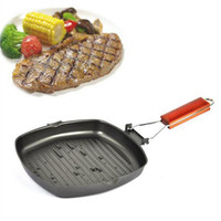 Wholesale steel barbecue grills resale online - Eco Friendly Refined Iron Pot Folding Portable Steak Frying Pan Thickened Non Stick Grill Pan Barbecue Outdoor Camping Cookware