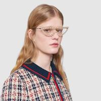 tapınak güneş gözlüğü toptan satış-Toptan Satış - Toptan-Moda Rhinestone Frame Kadınlar Güneş Tapınaklar Metal Serin Kedi Göz Güneş Gözlükleri Pearl İpucu GG Aynı Model 8 Renk Sıcak Satış