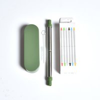 Wholesale stainless steels resale online - Stainless Steel Collapsible Straws With Small Case Telescopic Foldable Drinks Straw Portable Blue Green Gray Colors tc E1