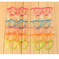 accesorios de gafas para niños al por mayor-Tubo para beber Eco-Friendly Home divertido transparente de plástico blando de paja de los vidrios flexibles únicos del partido de los niños accesorios de bar