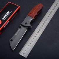 boker cepli toptan satış-BOKER Bıçak DA-104 Paslanmaz Çelik Bıçak Katlanır Pocket Knife Ahşap 56 HRC EDC Kamp Taktik Survival Dişli