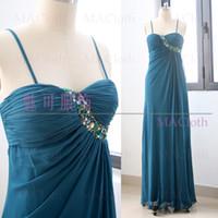 платья для полных платьев оптовых-MACloth  A-Line Strap Floor-Length Long Crystal Chiffon Prom Dresses Dress L 261035 Clearance