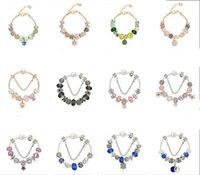 şeftali cazibesi gümüş toptan satış-925 Gümüş Takılar Pandora Avrupa Bilezik için Fit DIY Düğün Takı Şeftali Çiçek Bilezik Charm Boncuk Aksesuarları