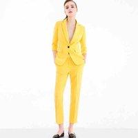 ingrosso giacca gialla delle signore-Donna 2 pezzi Imposta giallo Casual Blazer a vita alta Pantalone Office Lady intaglio giacca Pantalone vestito coreano Femme