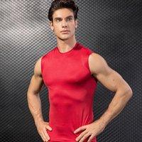 Wholesale men tight vest running for sale - Group buy 2020 Gym Red Shirt Sport Shirt Men Summer Running T shirt Vest Compression Gym t Fitness Tights Workout Men Sportswear pc