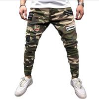 homens slim fit camuflagem calças venda por atacado-Mens magro estiramento calças jeans camuflagem plissada rasgado Slim Fit calças jeans 2019 carga quente calças jeans homens roupas