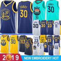 satılık basketbol topları toptan satış-NCAA Stephen 30 Curry Retro Kevin 35 Durant Basketbol Formalar 1 Russell Draymond 23 Yeşil Klay 11 Thompson Andre 9 lguodala Sıcak Satış