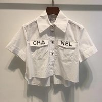 düğme bluzları kısa kollu toptan satış-2019 Yaz Beyaz Mektup Baskı Kısa Kollu kadın Bluzlar Marka Aynı Stil Gömlek Kadın Geri Düğmeleri Bluzlar Kadınlar DH0401