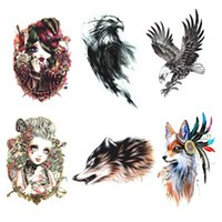 Wholesale tattoo stickers tree resale online - 1Pc New Large Tattoo Sticker Wolf In Trees Fake Tattoo Henna Body Art Temporary Stickers For Women Arms