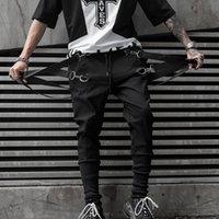 pantalon homme sarouel noir achat en gros de-Pantalon De Jogging Hip Hop Hommes Noir Casual Streetwear Pantalon Avec Des Rubans 2019 Printemps Mode Sarouel Pantalon Pour Homme