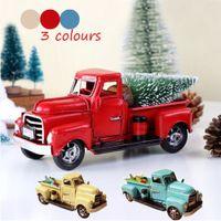 adornos de navidad de metal vintage al por mayor-Vintage Metal Truck Christmas Ornament Classic Car Handmade Pickup Model Carry Christmas Snow Tree Decoración para el hogar Regalo