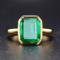 Wholesale vintage cocktail jewelry resale online - Wong Rain Vintage Sterling Silver Emerald Gemstone Wedding Engagement Cocktail Yellow Gold Ring Fine Jewelry Y200321