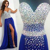 echte probe royal blaue kleider groihandel-Real Sample Royal Blue elegante Abendkleider 2015 Chiffon- langes Abendkleid für Prom Abendkleider Kristall Vestido de Festa